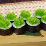 Tobiko (flying fish roe) Gunkan Maki Sushi — Stock Photo