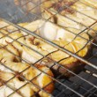 Codfish  steak  on the grill - Stock Photo