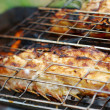 Grilling sea fishes on campfire grate — Stock Photo