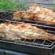 Barbecue .Rock Fish on the grill with flames — Stock Video