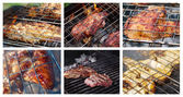 Food set cooking meat and fish barbecue. — Stock Photo