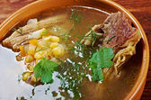 Pea soup with beef ribs — Stock Photo