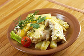 Farm-style Codfish with potatoes — Stock Photo