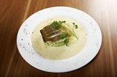 Filé de peixe frito com — Foto Stock