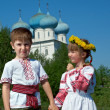 Russian Little boy and girl — Stock Photo