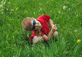 Small boy on meadow — Stock Photo