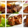 Food set of different  meat . collage — Stock Photo