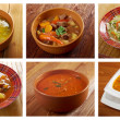 Stock Photo: Food set of different traditional soups.
