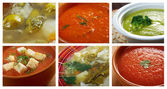 Food set of different vegetable soups. — Stock Photo