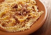 Mafalde pasta con carne di manzo — Foto Stock