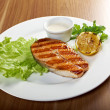 Delicious grilled salmon steak — Stock Photo