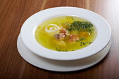 Ukha with sterlet , salmon . — Stock Photo