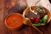 Italian rustic dinner — Stock Photo