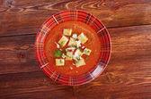 Läckra kalla gazpacho soppa — Stockfoto
