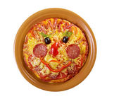 Smiley Faced Pizza — Stock Photo