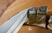Smoked mackerel cut with slices — Stock Photo