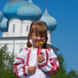 Russian  girl on church — Stock Photo
