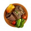 Sliced rare roast beef farm-style — Stock Photo