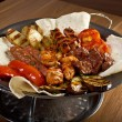 Shashlik (shish kebab). Various types mat roasted — Stock Photo