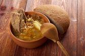 Kålsoppa med kött — Stockfoto