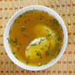 Chicken broth with dill and egg — Stock Photo