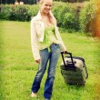 Girl with valise.Journey and rest — Stock Photo