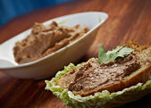 Slice of bread with pate — Stock Photo