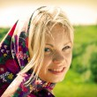 Stock Photo: Portrait beautiful girl in kerchief