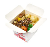 Take-out food - Beef slice and potato. — Stock Photo