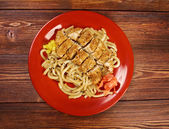 Pork and soba with vegetable. — Stock Photo