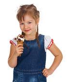 Caucasian girl eating ice-cream — Stock Photo
