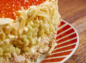 Chicken salad with apple and red roe — Stock Photo