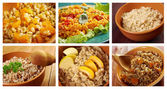Food set of different  russian traditional porridges.  — Stock Photo