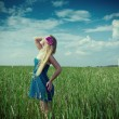 Woman on green grass — Stock Photo #43724949