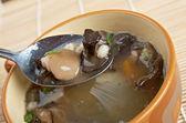 Russian sauerkraut soup with mushrooms  — Stock Photo