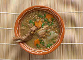 French soup with lentils and Dijon mustard — 图库照片