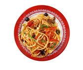 Spaghetti alla puttanesca — Stock Photo