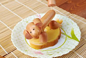 Sandwich made of dog sausages — Stock Photo