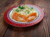 Pasta vermicelli with salmon — Stock Photo