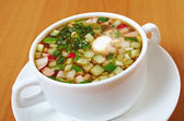 Cold soup, okroshka — Stock Photo