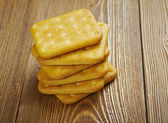 Crackers on  wood table — Stock fotografie