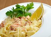 Pasta fettuccine with salmon  — Stock Photo