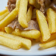 Slice pork  and french fries — Stock Photo #49554055
