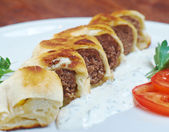 Turkish pide with beef meat  — Stock Photo