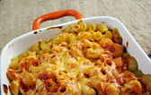 Pasta Elbow macaroni  bake with pancetta — Stock Photo