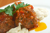 Meatballs cooked with vegetables — Stock Photo