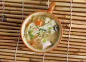 Chicken noodle soup - broth. — Stock Photo