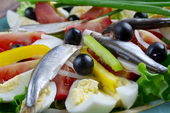 Nicoise Salad with anchovies — Stock Photo