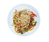 Beef slice  and udon-noodle. — Stockfoto
