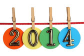 Number 2014 on a red rope — Stock Photo
